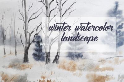 winter watercolor landscape