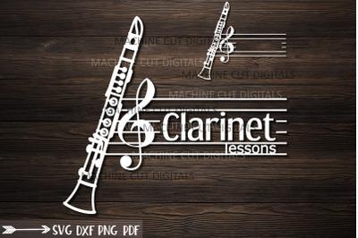 Clarinet classes split monogram for name logotype svg cut