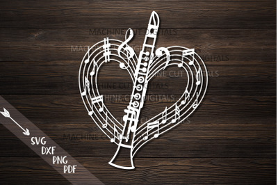 Clarinet musical heart shape svg laser cut out template