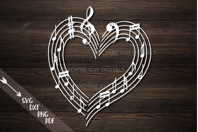 Musical heart with music notes svg laser cut file template