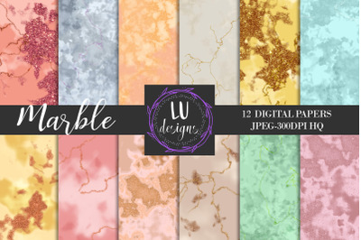 Marble Digital Papers, Glitter Marble Textures, Marble Backgrounds