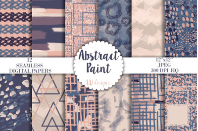Navy and Nude Abstract Digital Papers, Brush Paint Seamless Patterns