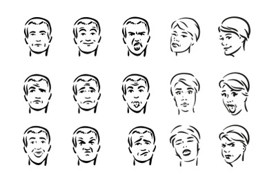 People with different facial express icon set