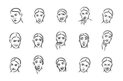 Woman with different facial express icon set.