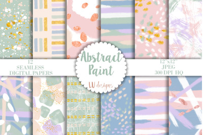 Abstract Paint Digital Papers, Watercolor Pastel Seamless Patterns