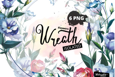 Watercolor Flower Wreath PNG set