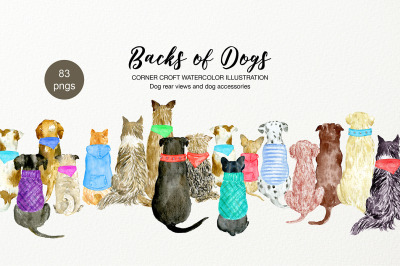 Dog Clipart, Backs of Dogs, dogs and accessories