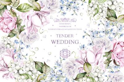 Watercolor Wedding Tender Flowers