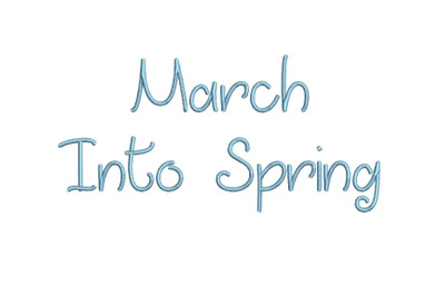 March Into Spring 15 sizes embroidery font (MHA)