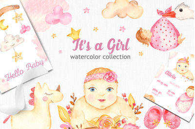 It's a girl watercolor collection clipart. Premade cards and patterns