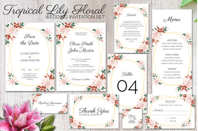 Tropical lily floral wedding invitation set