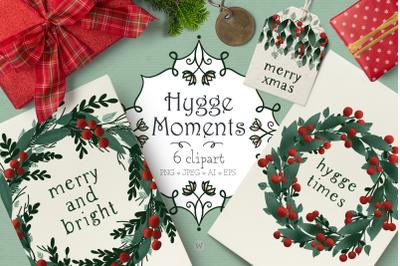 Christmas wreath clipart, Christmas clipart, winter clipart