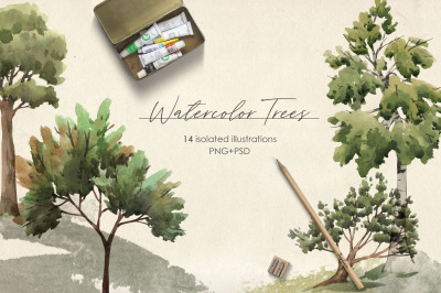Watercolor Trees Illustrations (PNG+PSD)