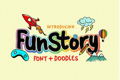 Fun Story Font + 60 Illustrations