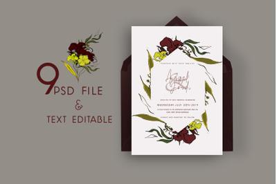 Paper Flower Sketch Wedding Invitation
