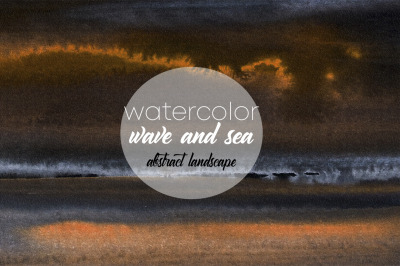 watercolor wave and sea. abstract landscape