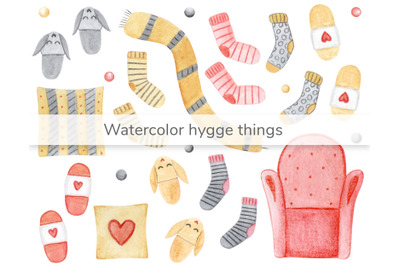 Watercolor hygge cute things