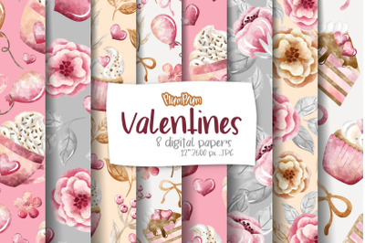 Valentines Digital Papers