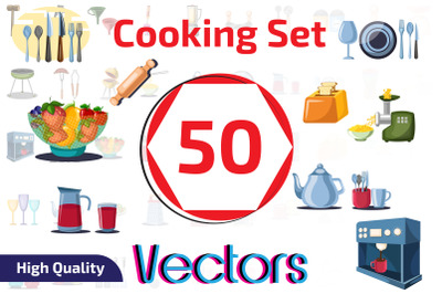 50x Kitchen and Cooking objects vector collection