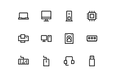 Computer icons set line style designed with grid and perfect pixel.