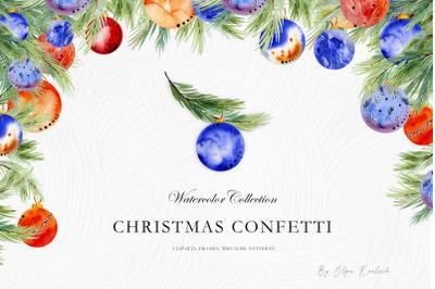 Watercolor Christmas Confetti Set