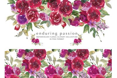 Red Amaranth Rose Clipart Set