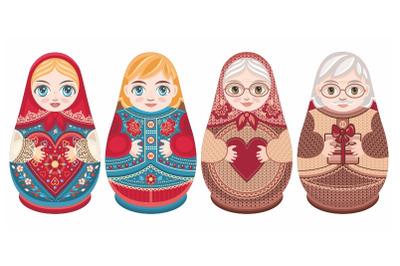 Cute Russian nesting dolls Matryoshka. Babushka doll