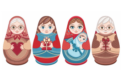 Cute Russian nesting dolls Matryoshka. Babushka doll
