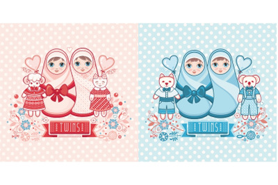 Cute card for babies. Kawaii girl and boy cute illustration
