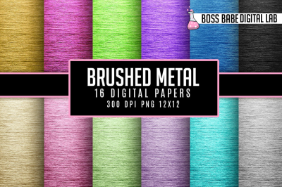 16 Brushed Metal Digital Papers