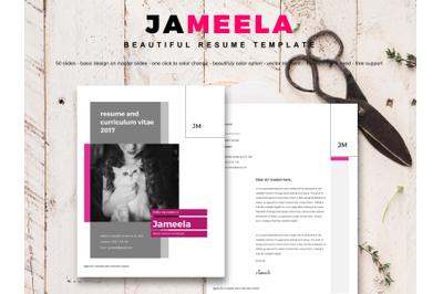 Jameela beautiful resume and cv with mini portfolio