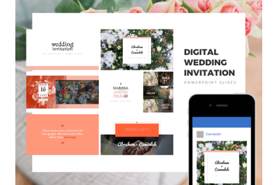 Tropical Wedding Invitation PowerPoint Template