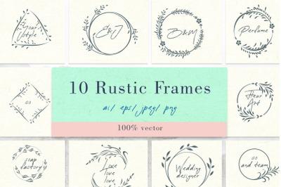 Floral vector rustic frames
