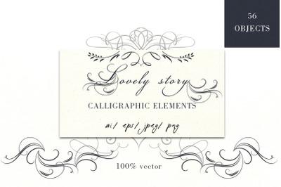 Calligraphic set. Vector flourishes