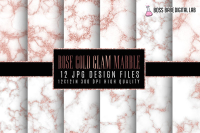 Rose Gold Glam Marble Papers