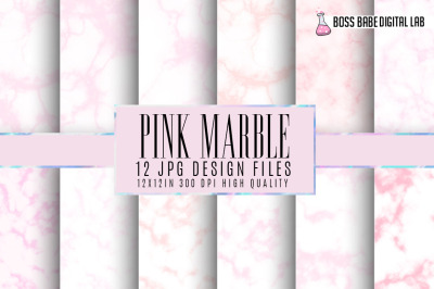 Pink Marble Digital Papers