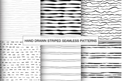 Hand drawn black and white striped seamless patterns.