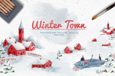 Watercolor Winter Town Landscape Seamless Patterns Illustrations PNG