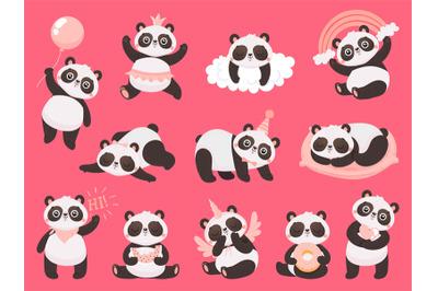 Cartoon cute panda. Little baby pandas, adorable sleeping animals and