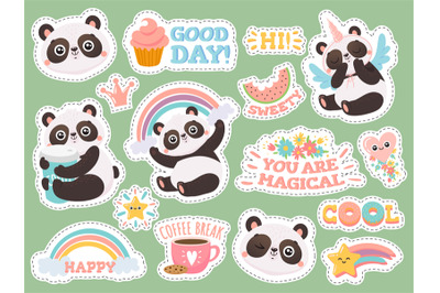 Cute panda stickers. Happy pandas patches, cool animals and winked pan
