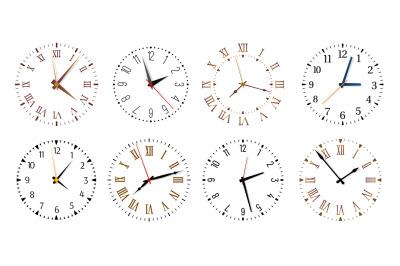 Modern clock faces. Minimalist watch, round clocks and watch face isol