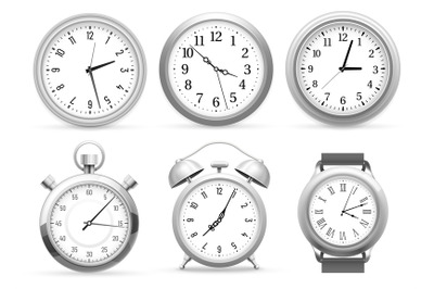 Realistic clocks. Wall round clock, alarm and wristwatches. Stopwatch