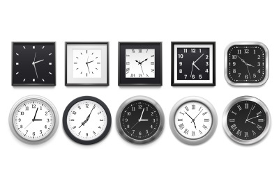 Realistic clock. Modern white round wall clocks, black watch face and
