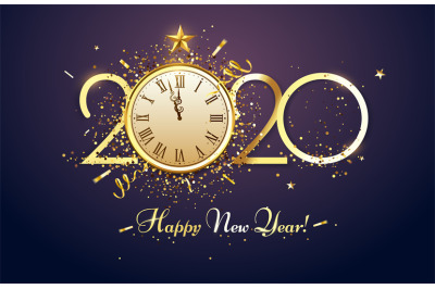Happy 2020 New Year. Party countdown clock with golden sparks confetti