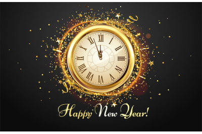 New Year countdown watch. Holiday antique clock with golden confetti,