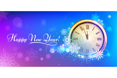 New 2020 Year winter clock. Winter holidays snowflakes New Years Eve c
