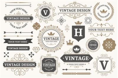 Vintage sign frames. Old decorative frame design, retro ornate label e