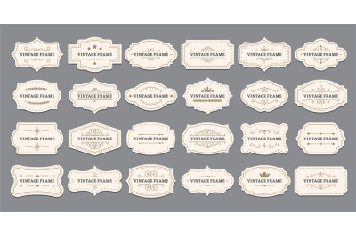 Ornamental label frames. Old ornate labels, decorative vintage frame a