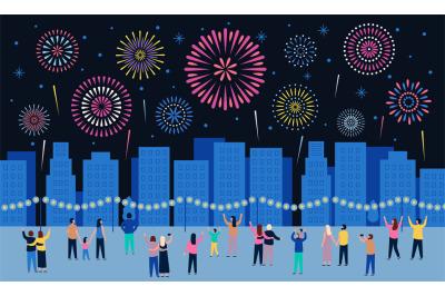 Crowd watching fireworks. Dark night city with firework pyrotechnic sh