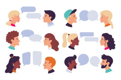Speaking people. Couple conversation, dialogue bubbles and chat avatar